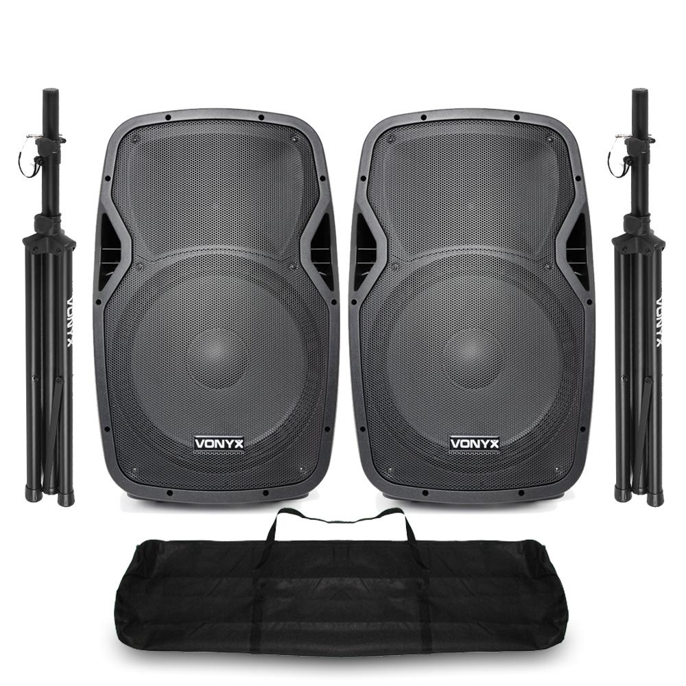 "Vonyx AP1500ABT 15"" Bluetooth Active DJ Speaker Pair with Stands"