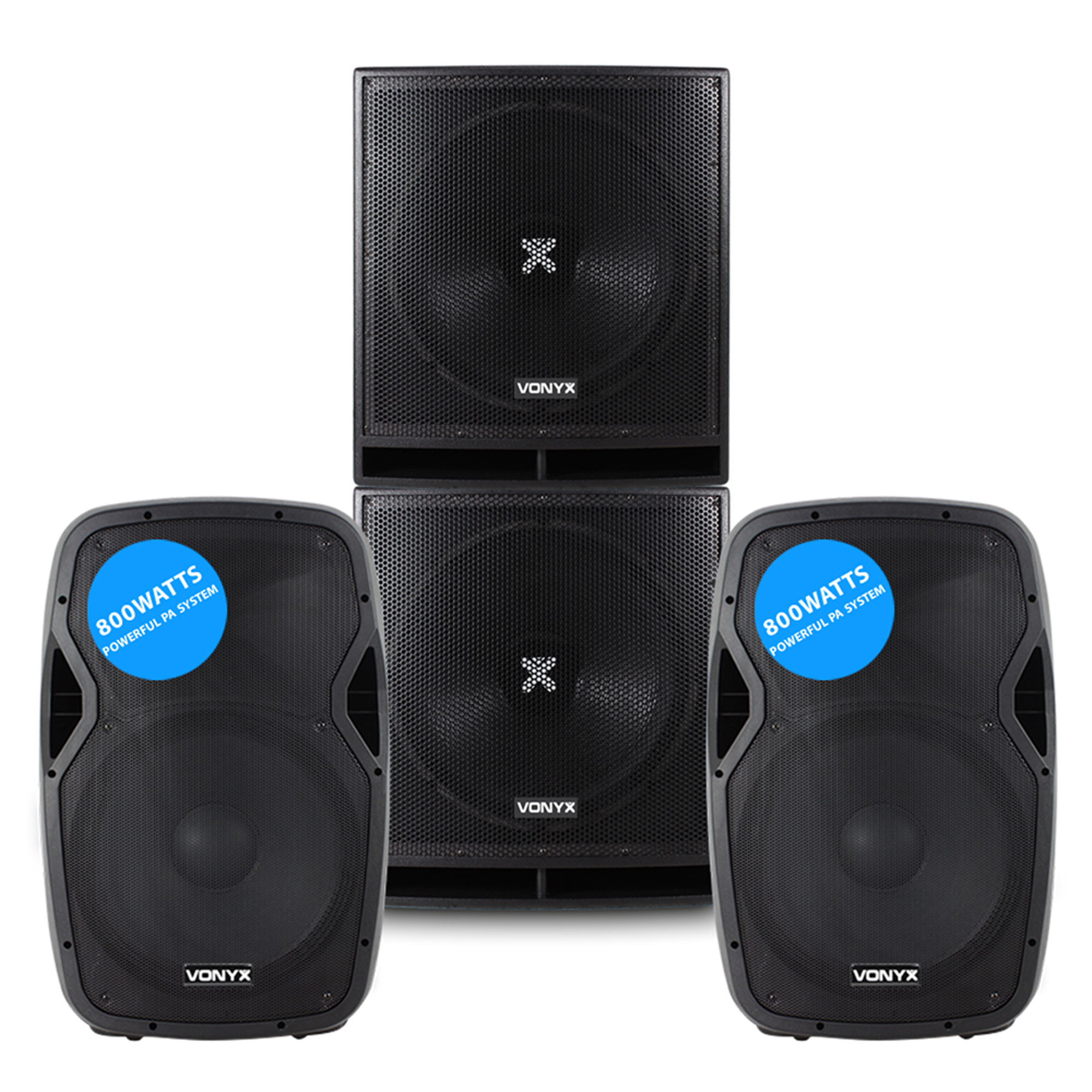 """Vonyx AP1500A 15"""" Active PA Speaker Pair with SWP18 Subwoofer Pair"""