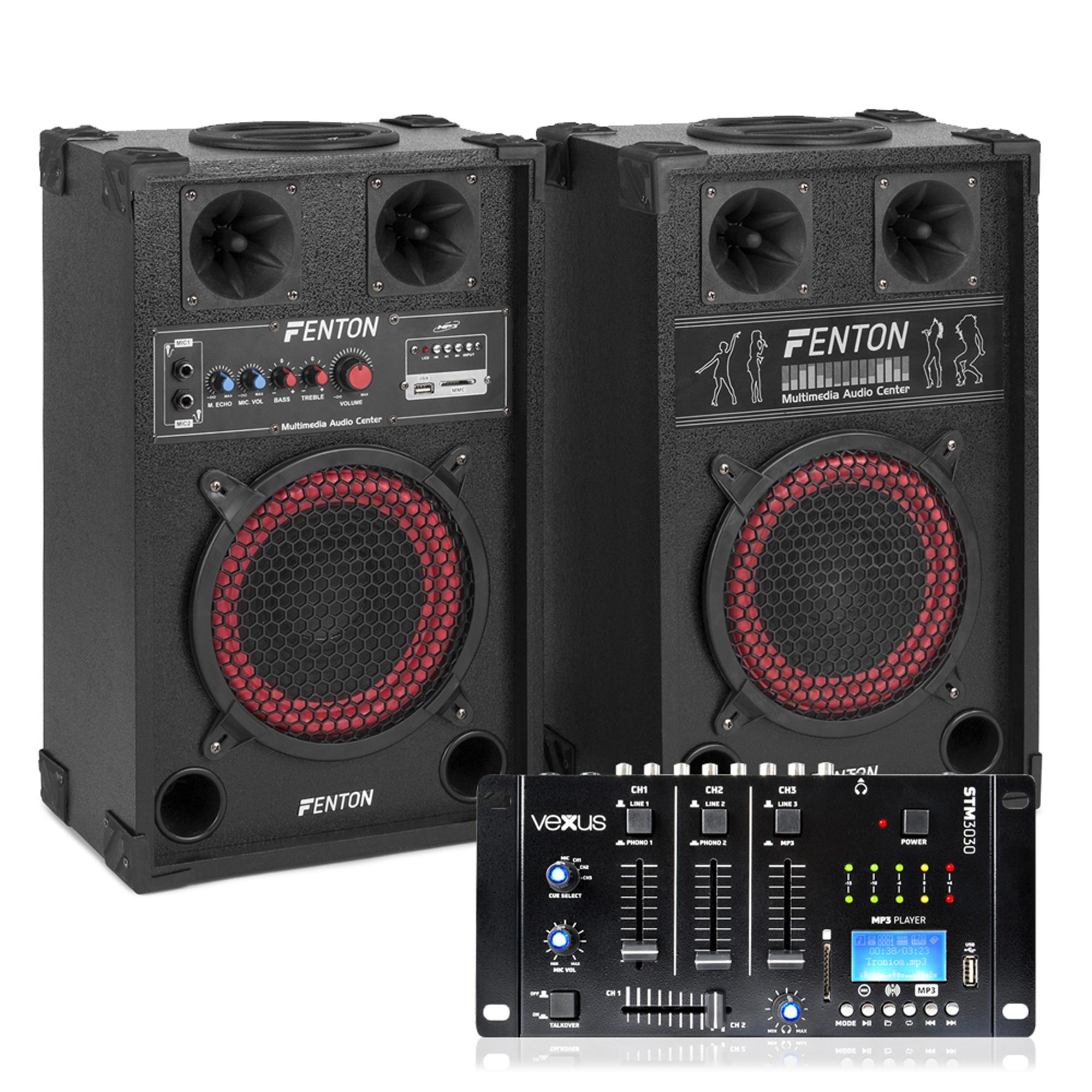 Fenton SPB-8 Bluetooth Active Party PA Speaker Pair with Mixer