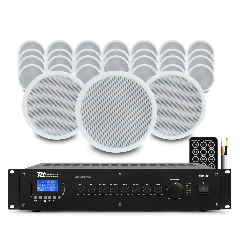 "PD CSPB5 5"" Ceiling Speaker 100V Line, Set of 30 with Amplifier"