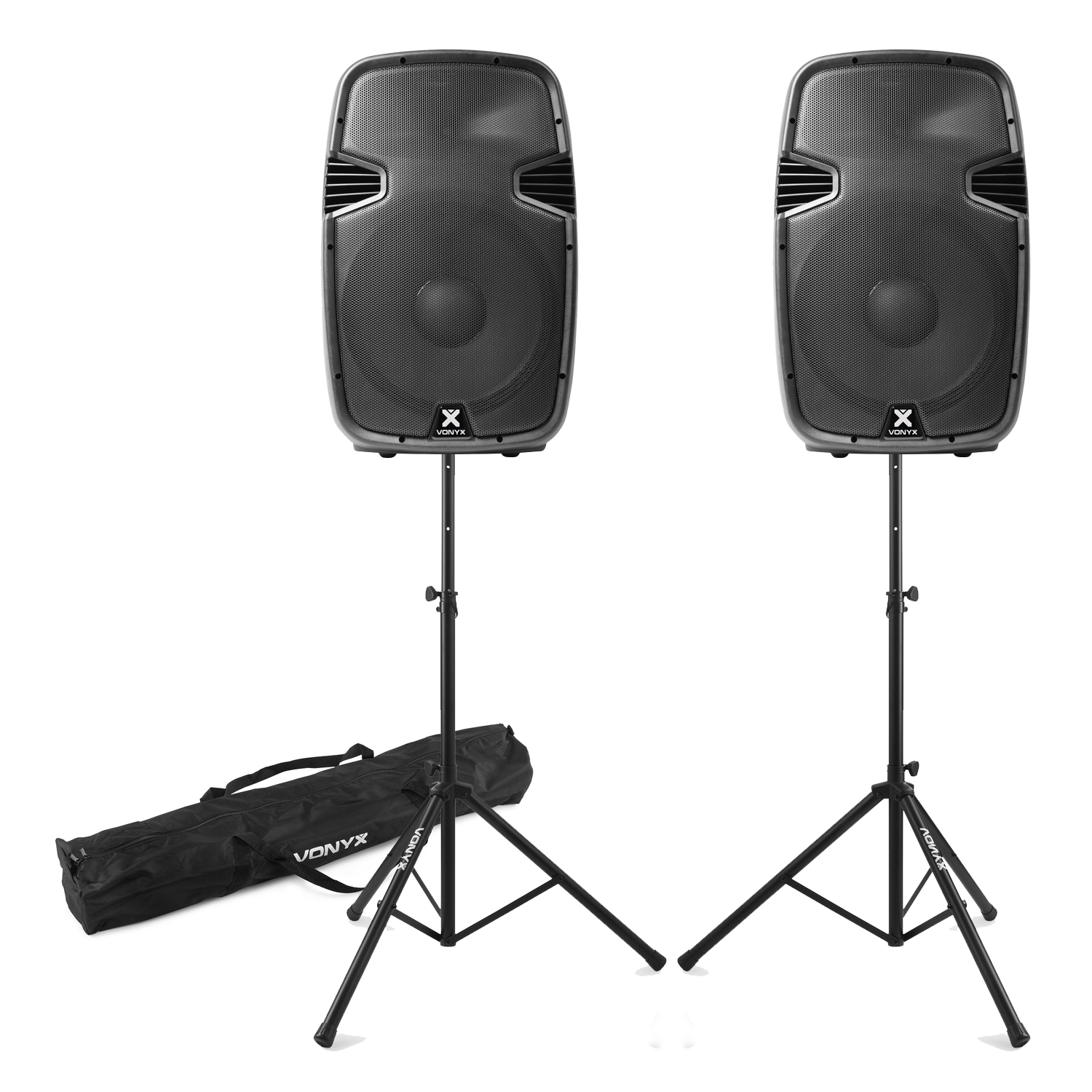 Vonyx SPJ-15 Bluetooth Active Speakers Pair with Stands