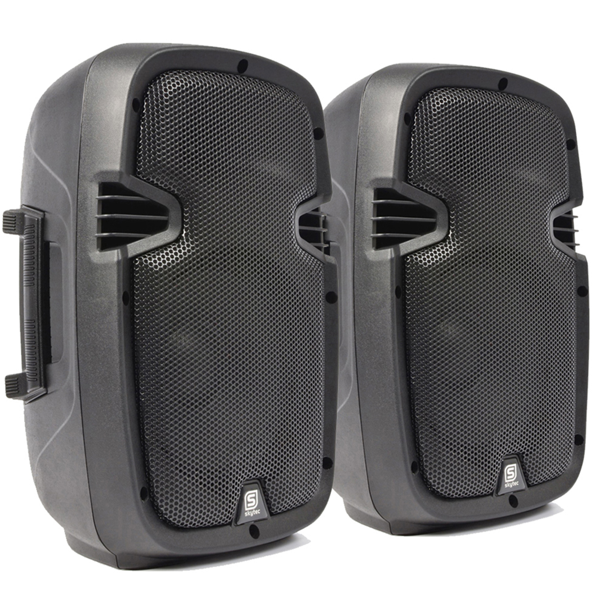 2 x skytec compact active powered 8 dj disco pa speaker monitors 400 watt pair. Black Bedroom Furniture Sets. Home Design Ideas