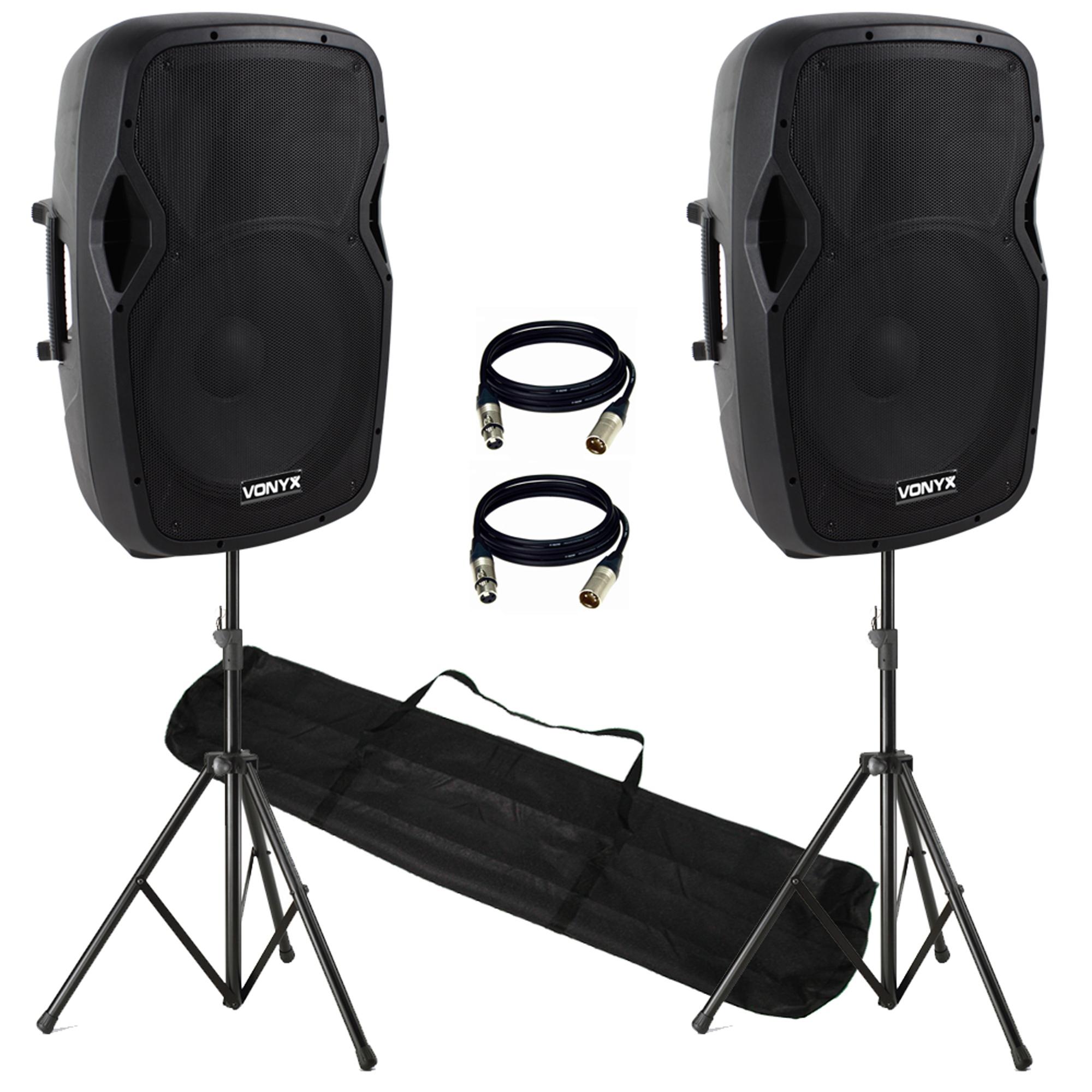 """Vonyx AP1500ABT 15"""" Bluetooth Active Speaker Pair & Stands"""