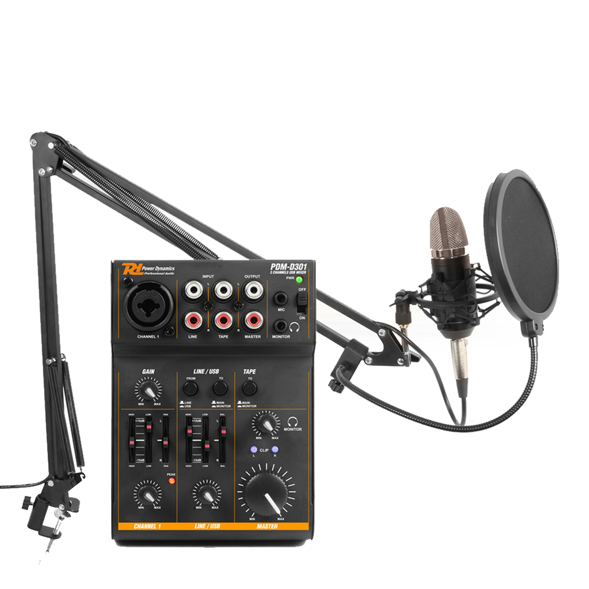 podcast desktop studio microphone and 3 channel usb live mixer recording set. Black Bedroom Furniture Sets. Home Design Ideas