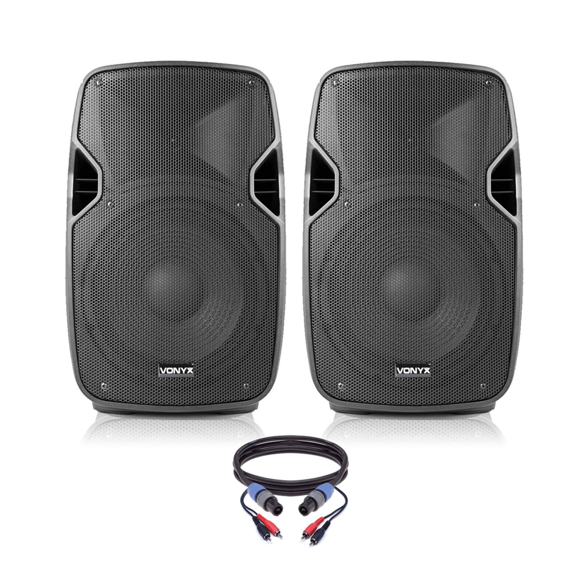 "Vonyx AP1000 10"" Active PA Speaker Pair"