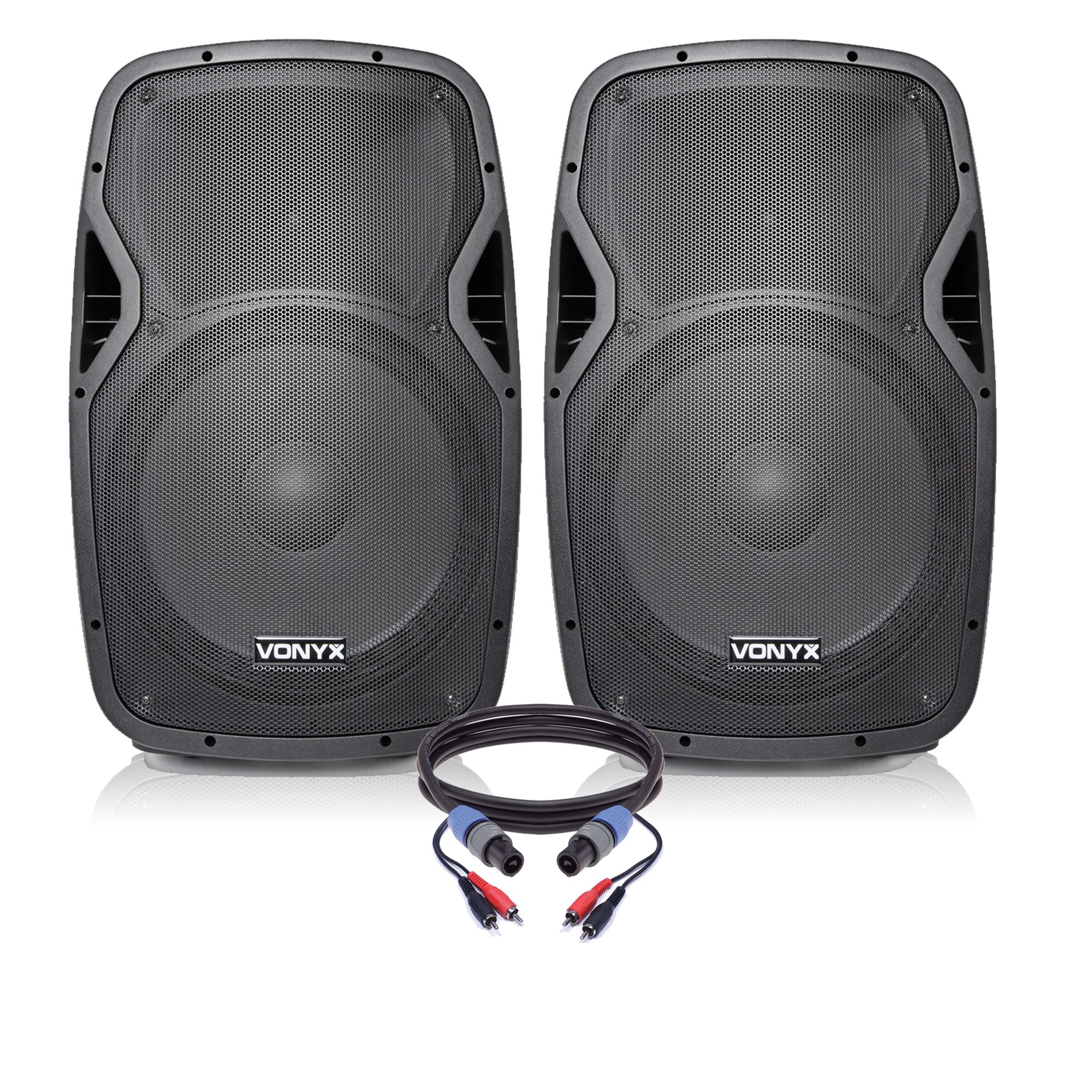 "Vonyx AP1500ABT 15"" Bluetooth Active PA Speaker Pair"