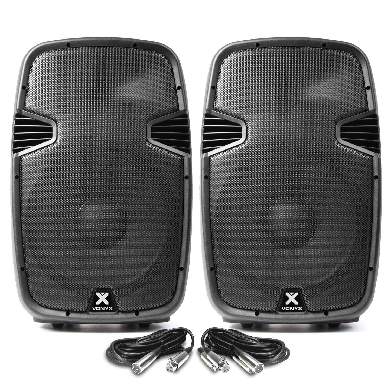 "Vonyx SPJ1500ABT 15"" Bluetooth Active PA Speaker Pair & Cables"