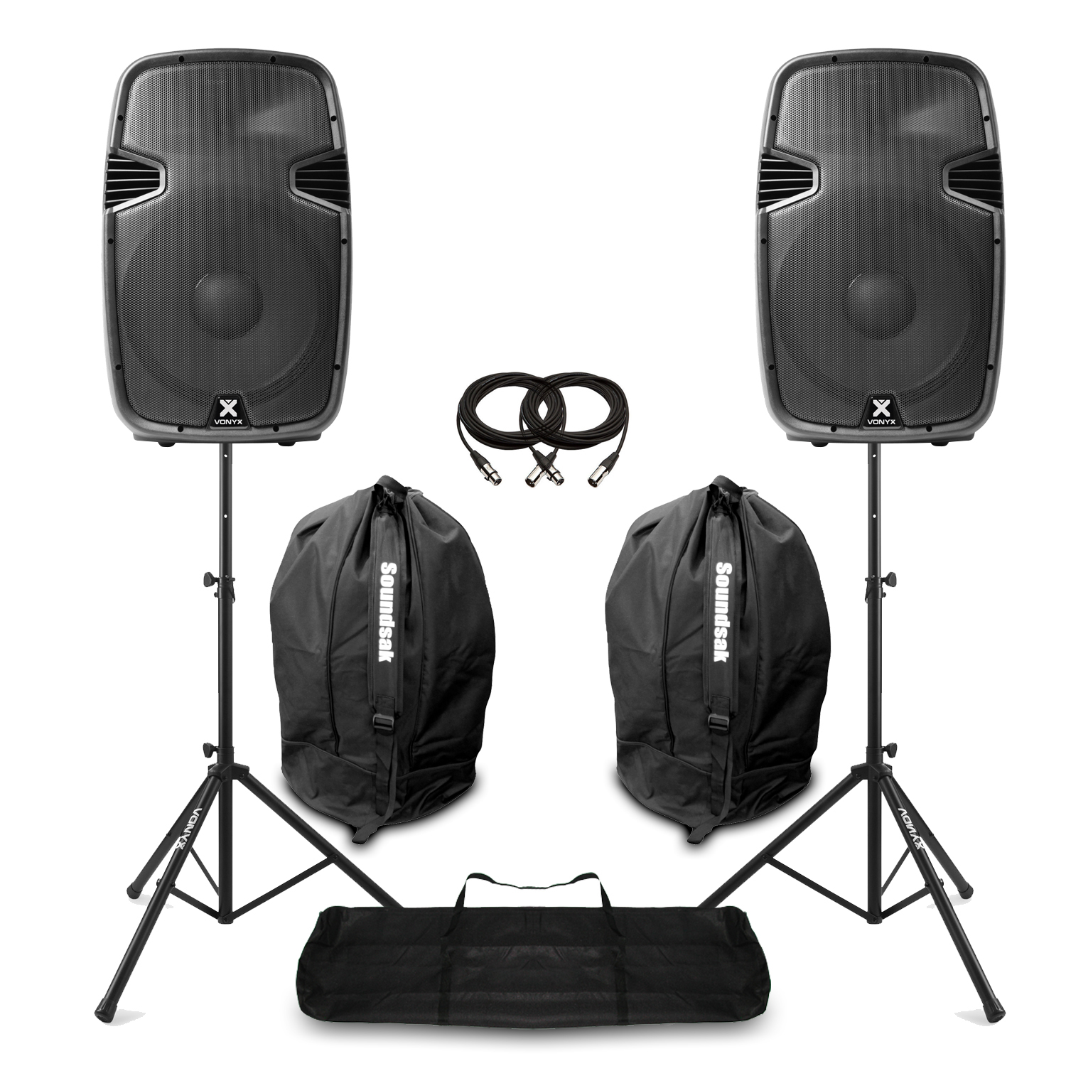 """Vonyx SPJ1500ABT 15"""" Bluetooth Active PA Speaker Pair, Stands & Bags"""