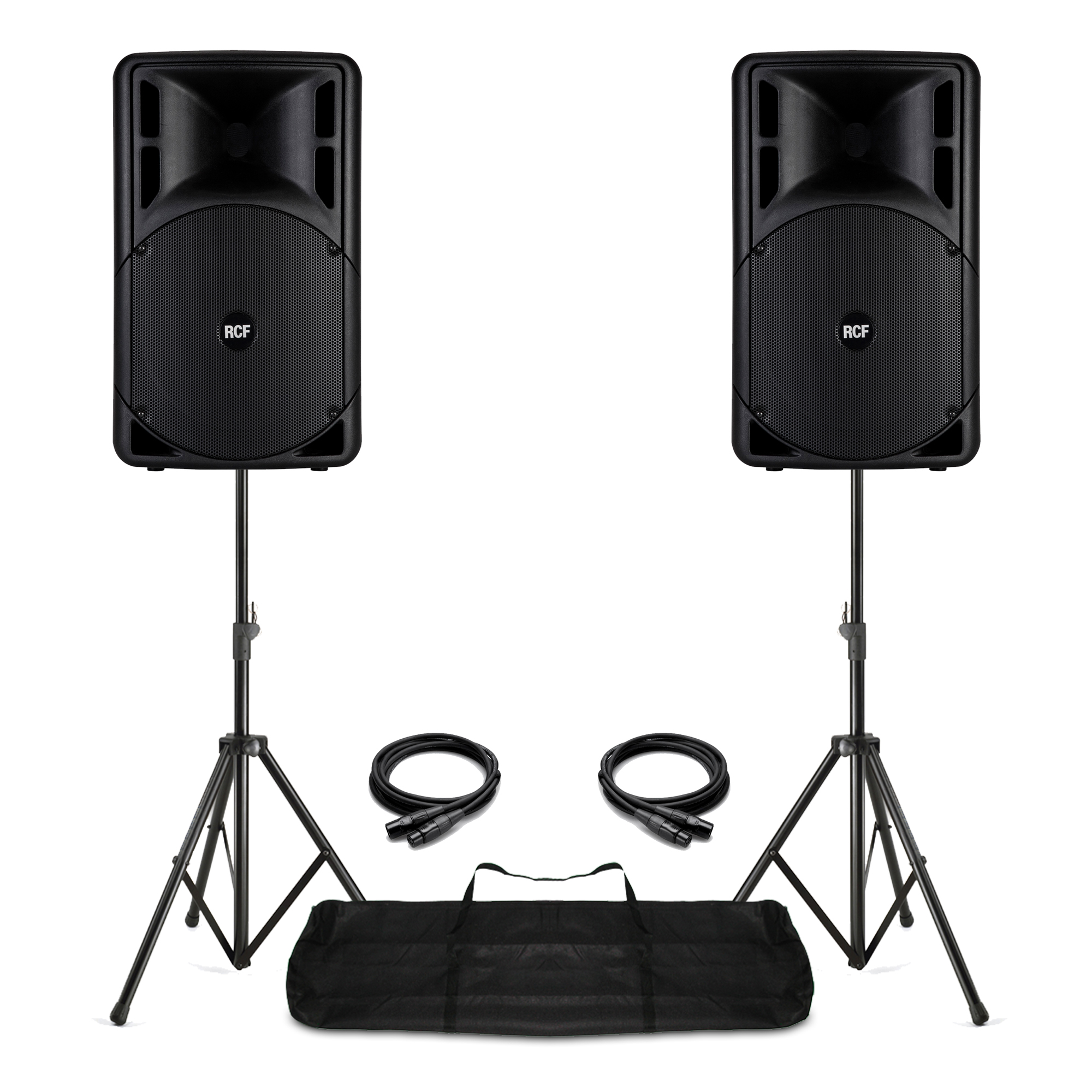 """Complete PA System with 15"""" RCF ART 315-A MK4 Active Speakers, Stands & Bag"""