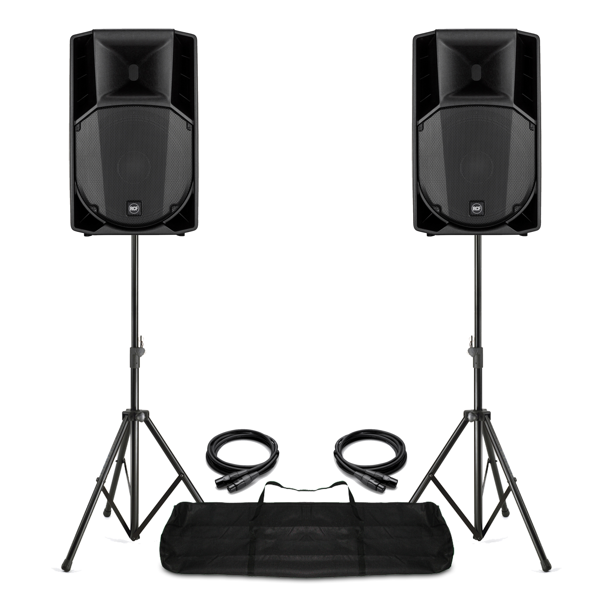 Pair RCF ART 715-A Mk4 Active PA Speakers, Stands with Gig Bag Live Sound  1400W