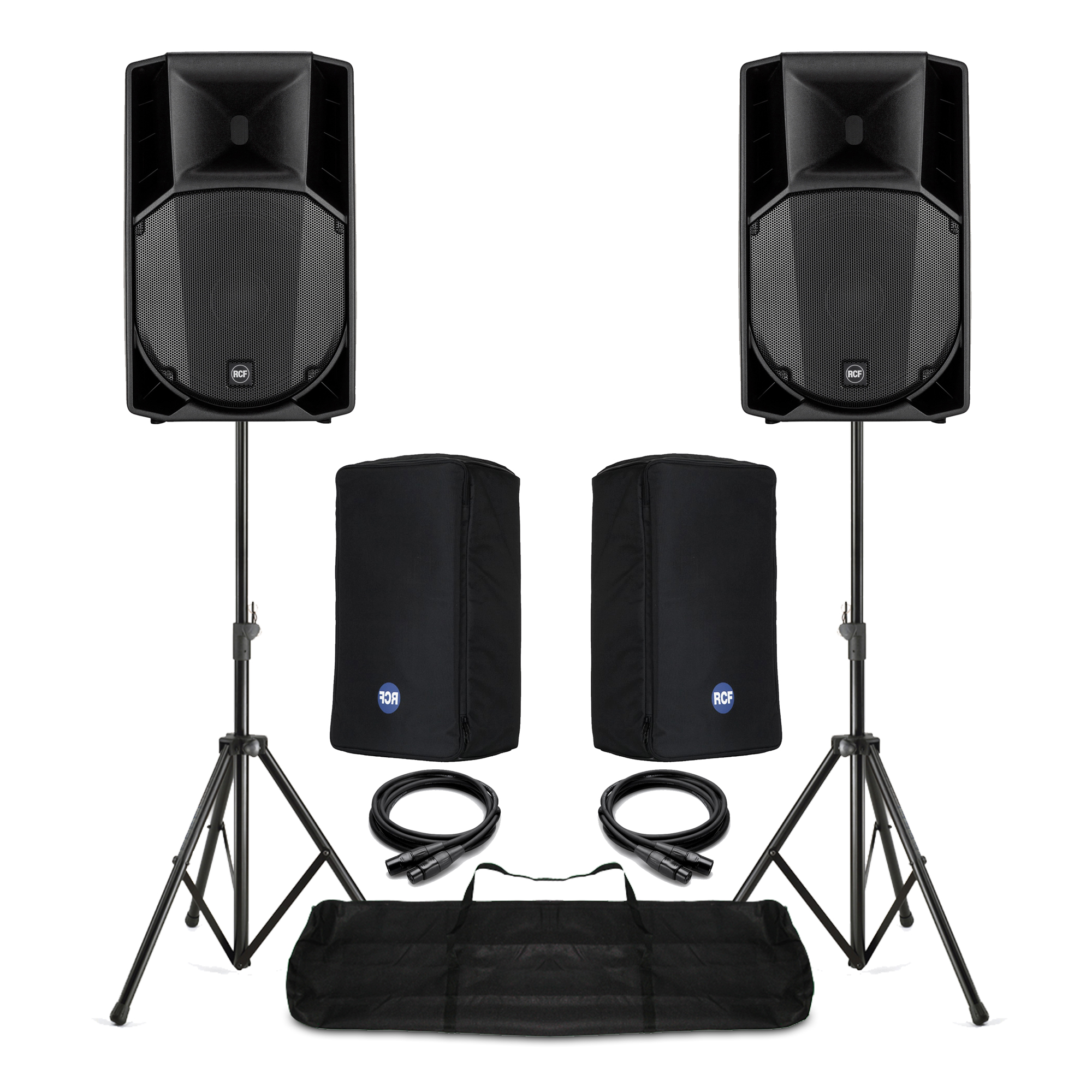 Pair RCF ART 715-A Mk4 Active PA Speakers, Stands & Covers DJ Live Sound  1400W