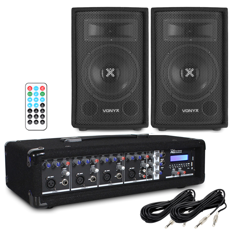 "Vonyx SL8 8"" Passive DJ/PA Speaker & PDM-C405A Amplifier"
