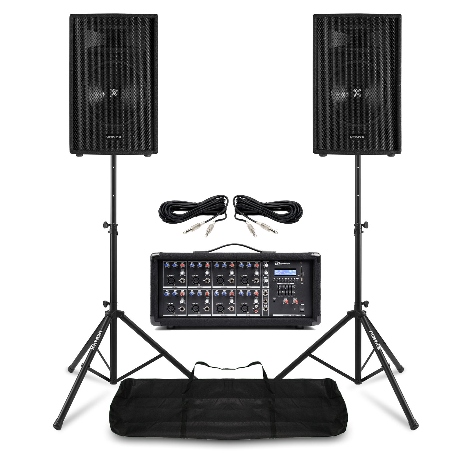 """Complete PA Speaker System with SL8 8"""" Passive Speakers, 8 Channel Amplifier & Stands"""