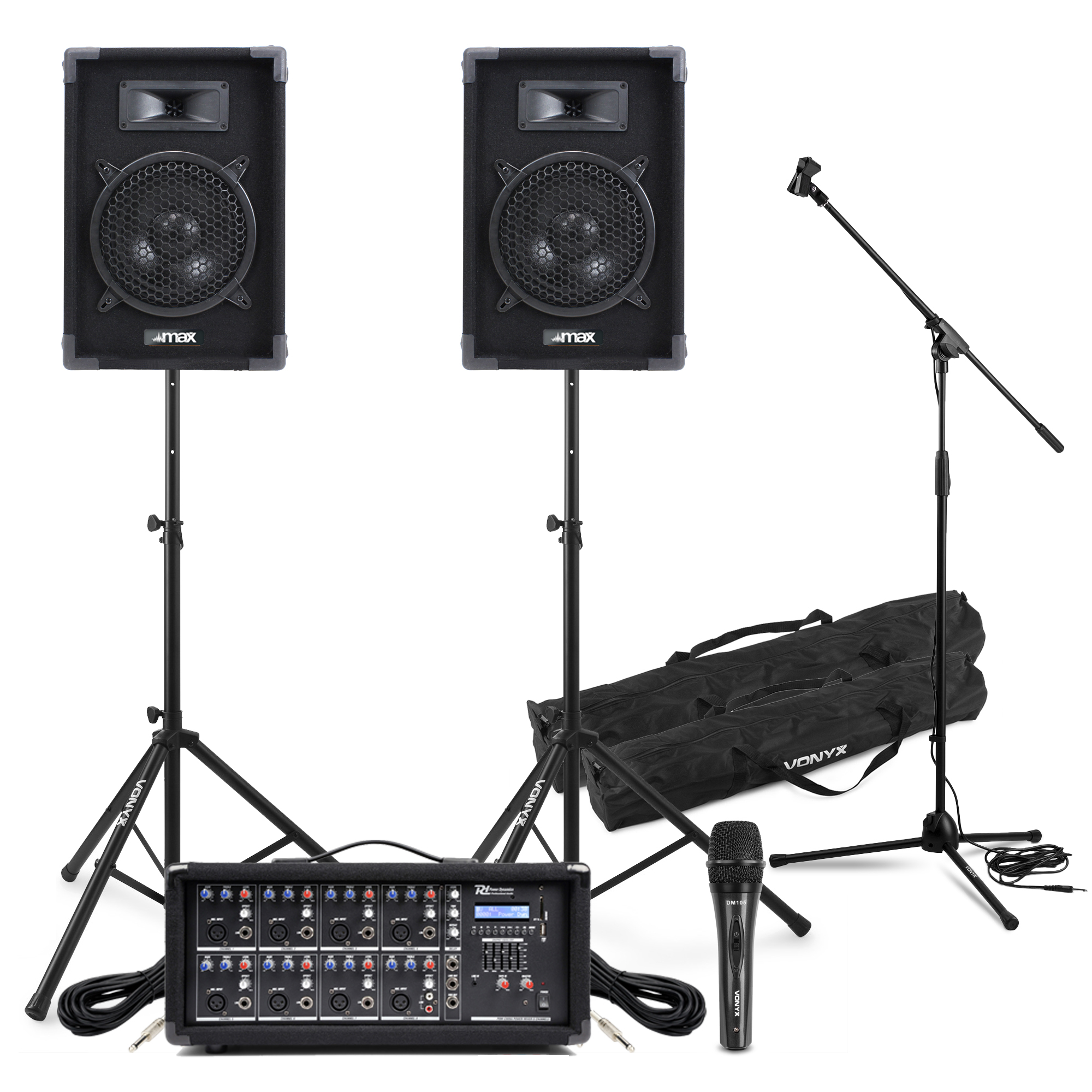Complete Band PA System Max-8 Speakers, 8 Ch Mixer Amp, Microphone Kit & Stands