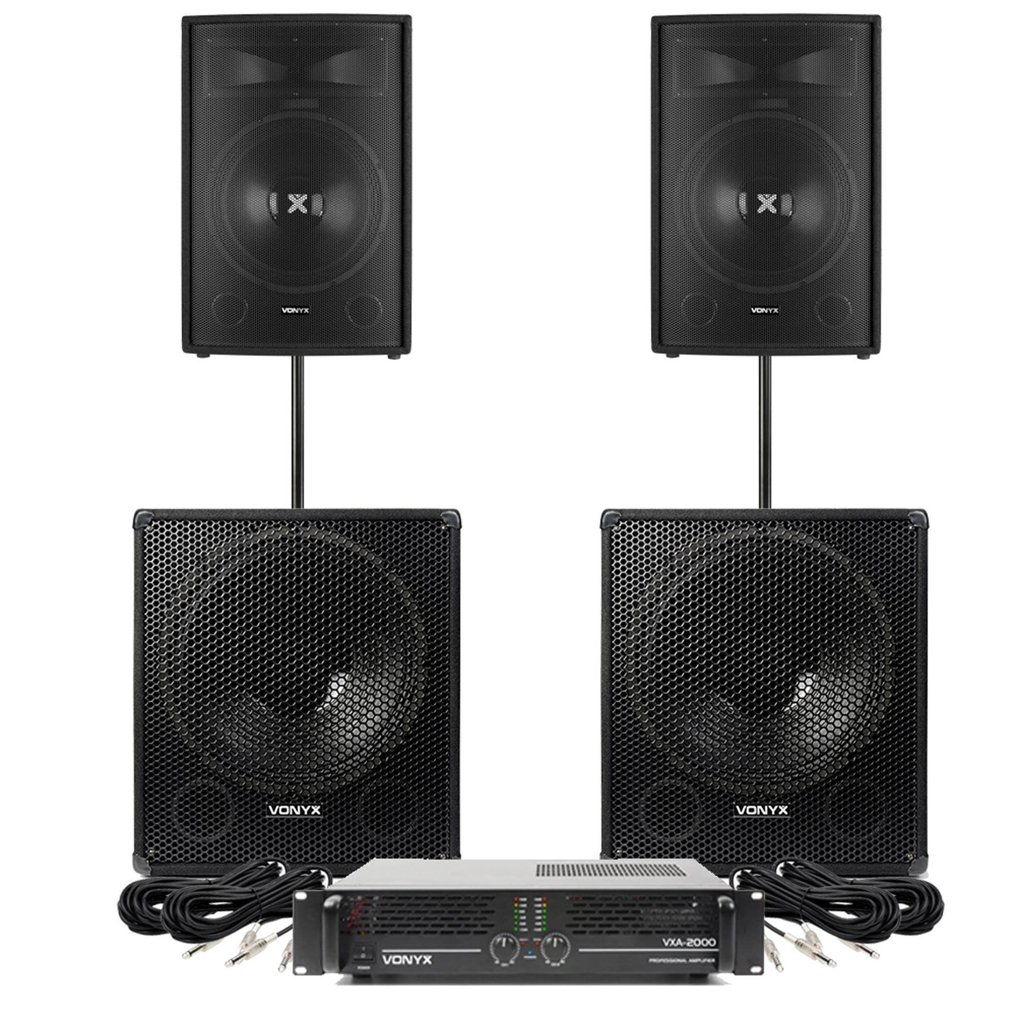 "Vonyx SL15 15"" Passive DJ Speaker Pair with 18"" Subwoofers & VXA-2000 Amplifier"