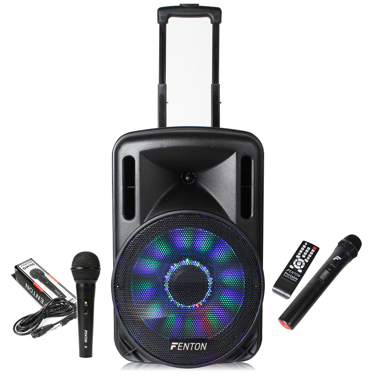Fenton FT12LED Portable PA System with Wireless Mic & 2 Wired Mics