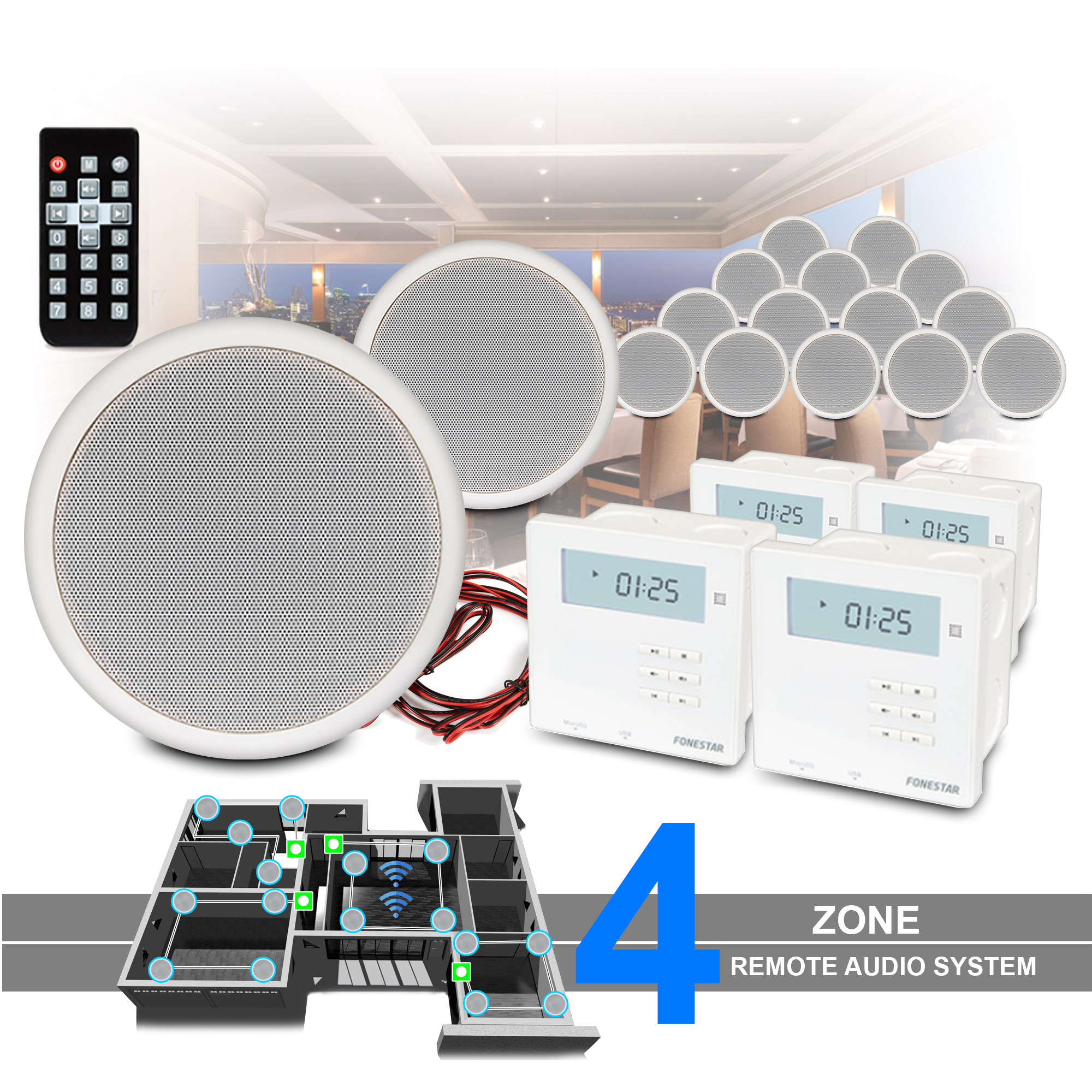 Bluetooth Ceiling Speakers X16 Multi Room System And Wall Amplifier Home Audio Ebay