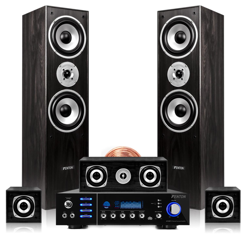 Fenton Black 5.0 Surround Sound & AV320BT Amplifier