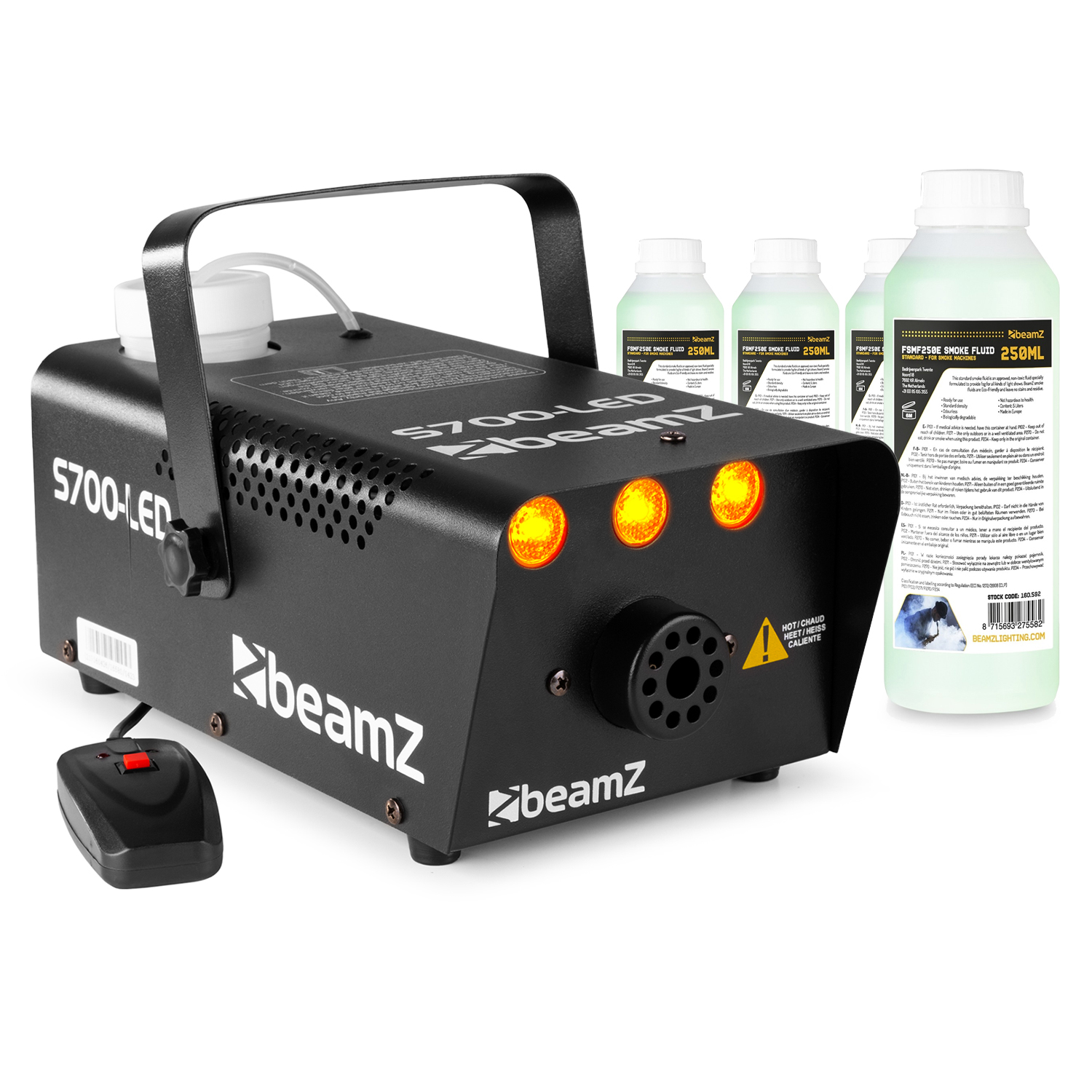 BeamZ S700 Smoke Machine with LED Flame Effect & 1L Fluid