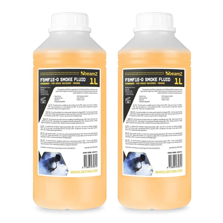 BeamZ 1L Eco Orange Smoke Fluid, Pair