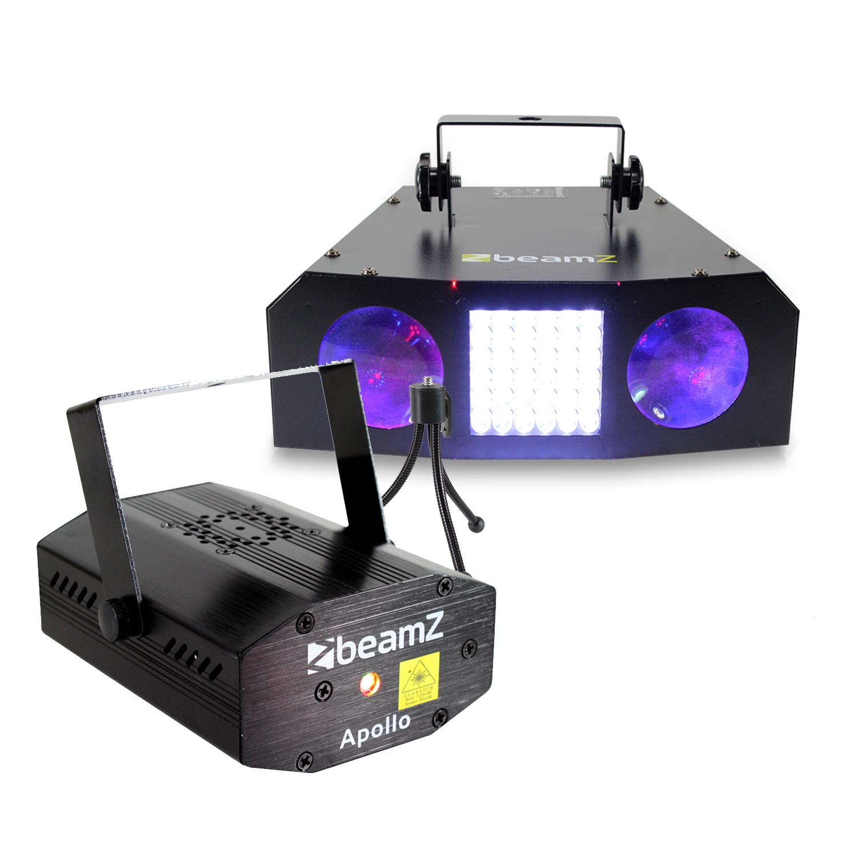BeamZ Uranus Double LED Moonflower Strobe Light & Apollo Disco Laser Light