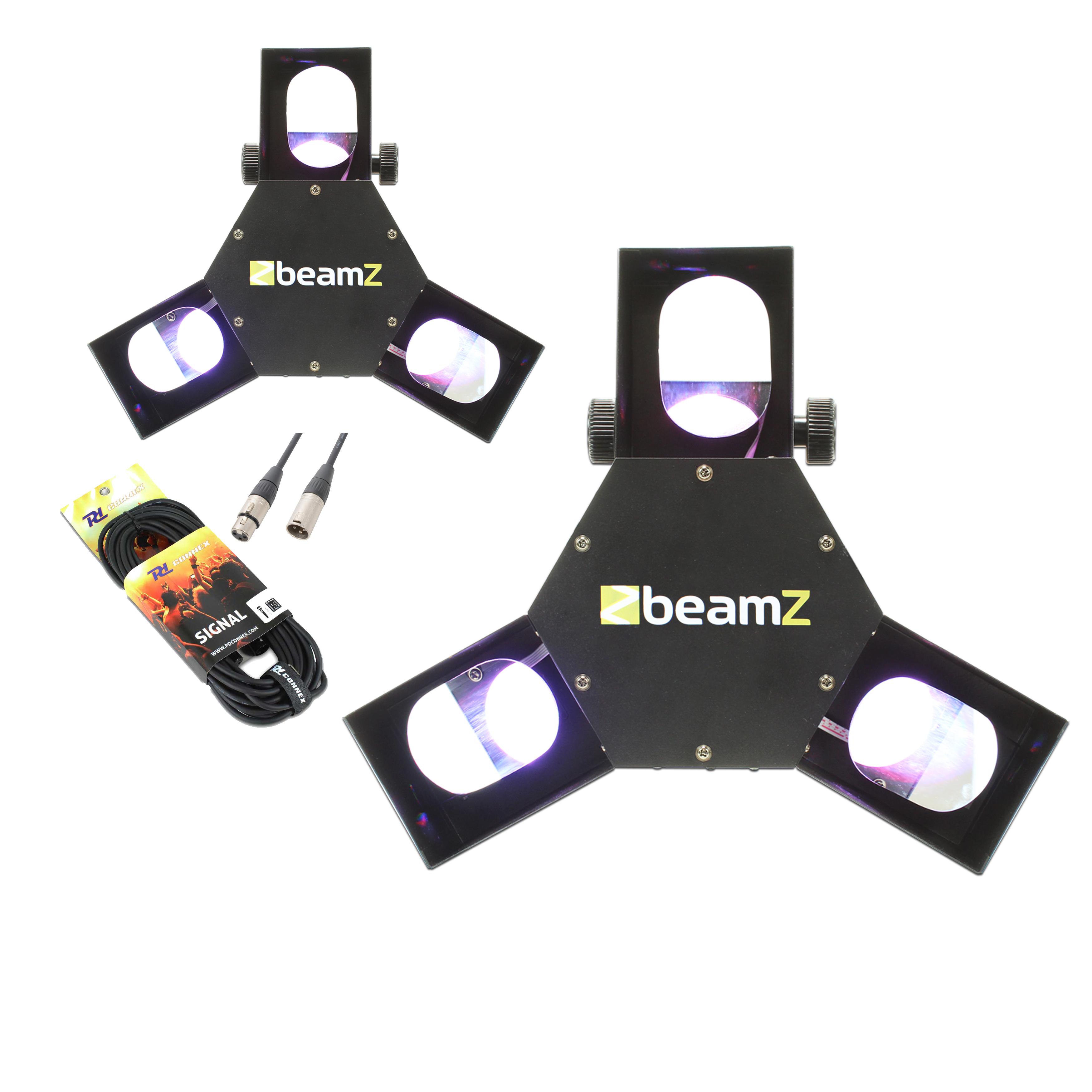 BeamZ Triple Flex LED Scanner Disco Light & Cables Pair