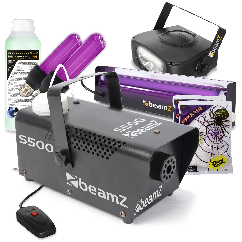 BeamZ S500 Smoke Machine with Strobe, UV Lights & Stretchy Web