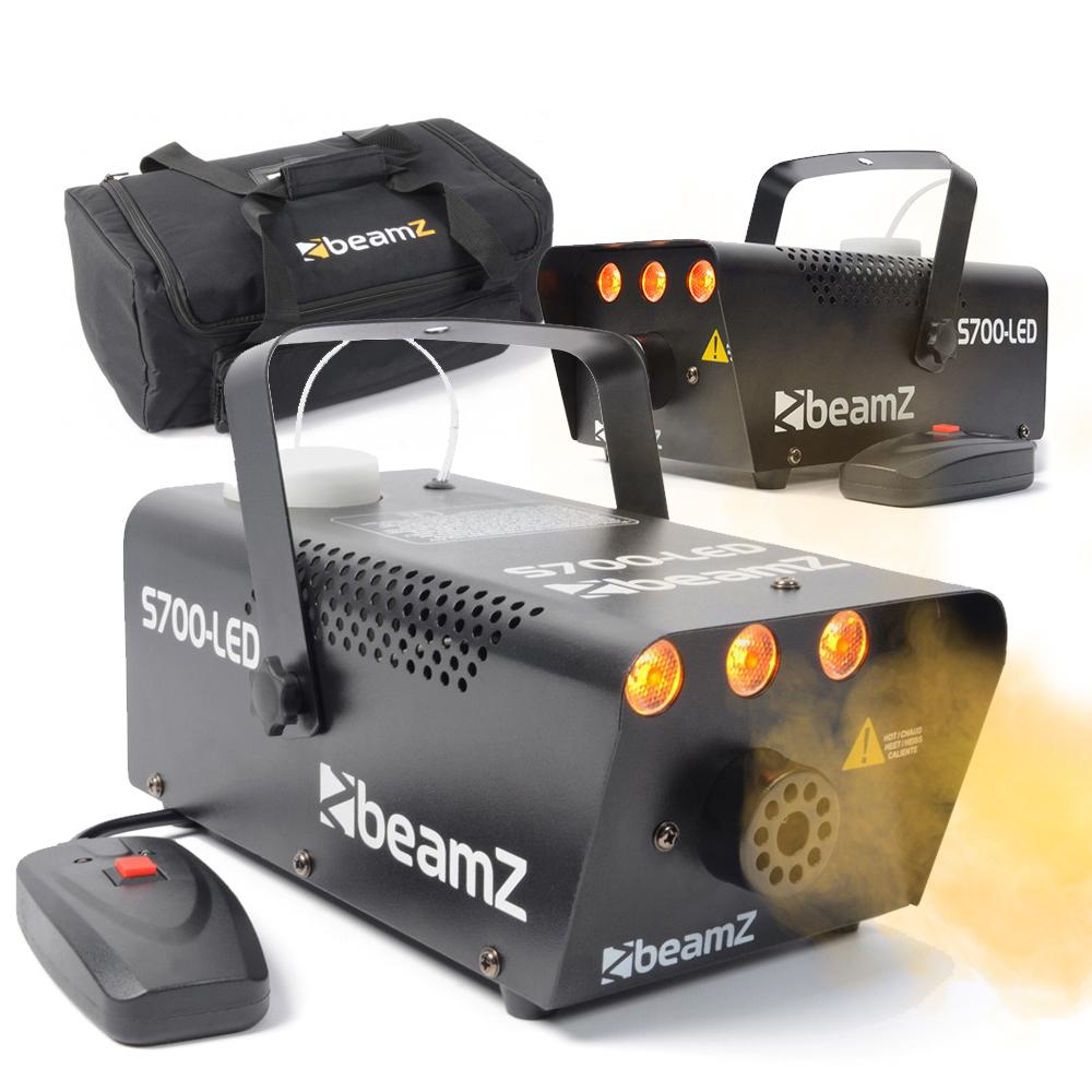 2 x BeamZ S700 Smoke Machine with LED Flame Effect & Soft Case