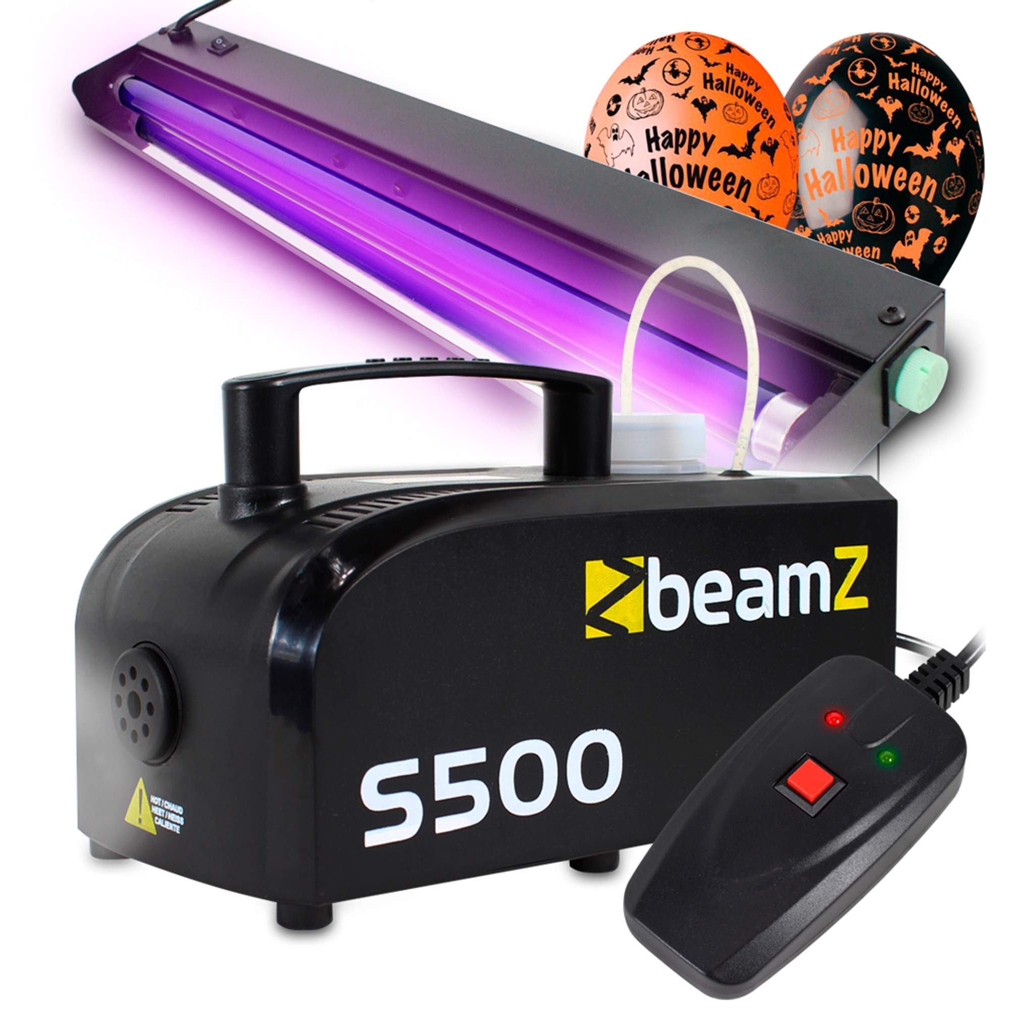 Halloween Party Package with S500 Smoke Machine, UV Light Bar - 60cm & Balloon