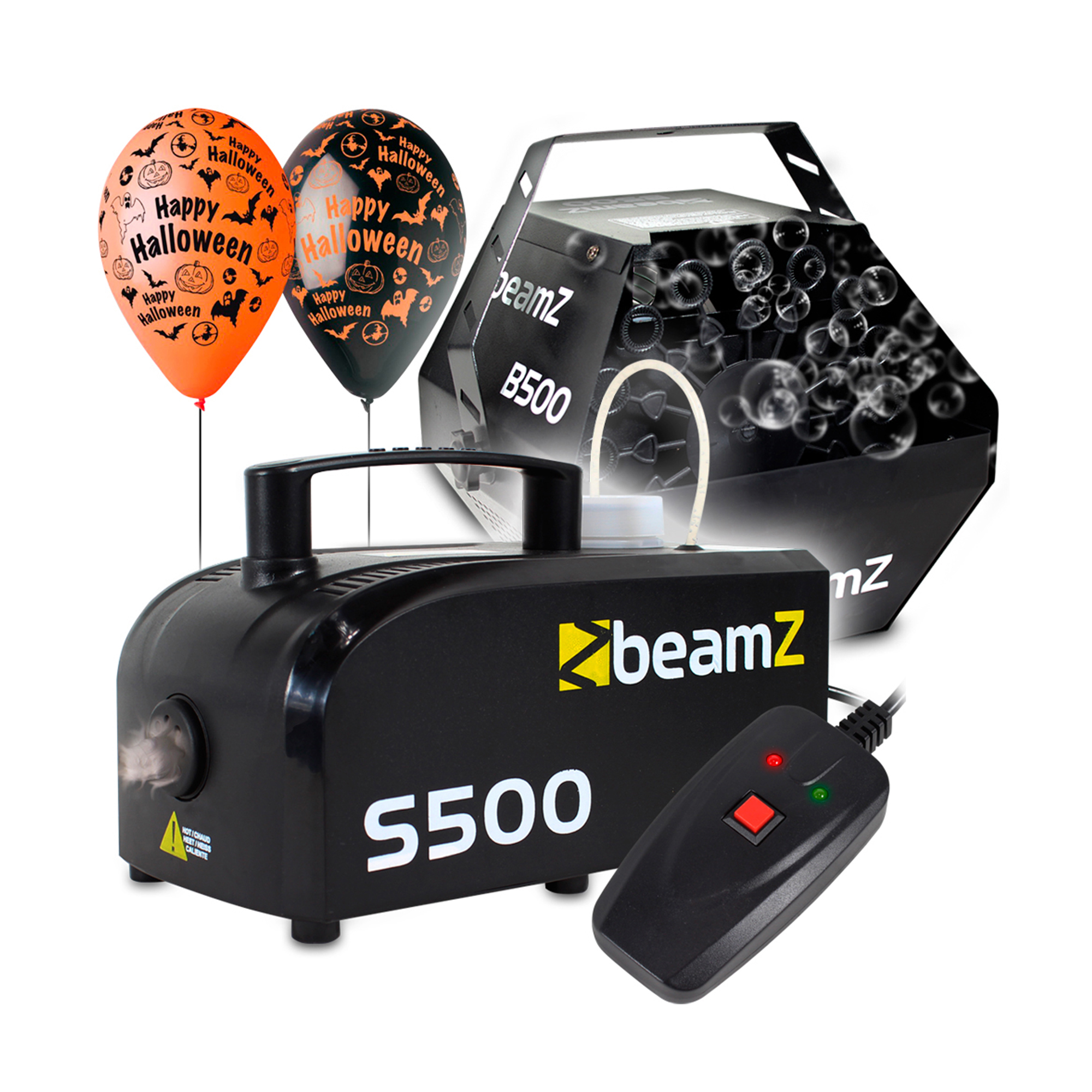 Halloween Party Package with S500 Smoke Machine, B500 Bubble Machine, Fluids & Balloon