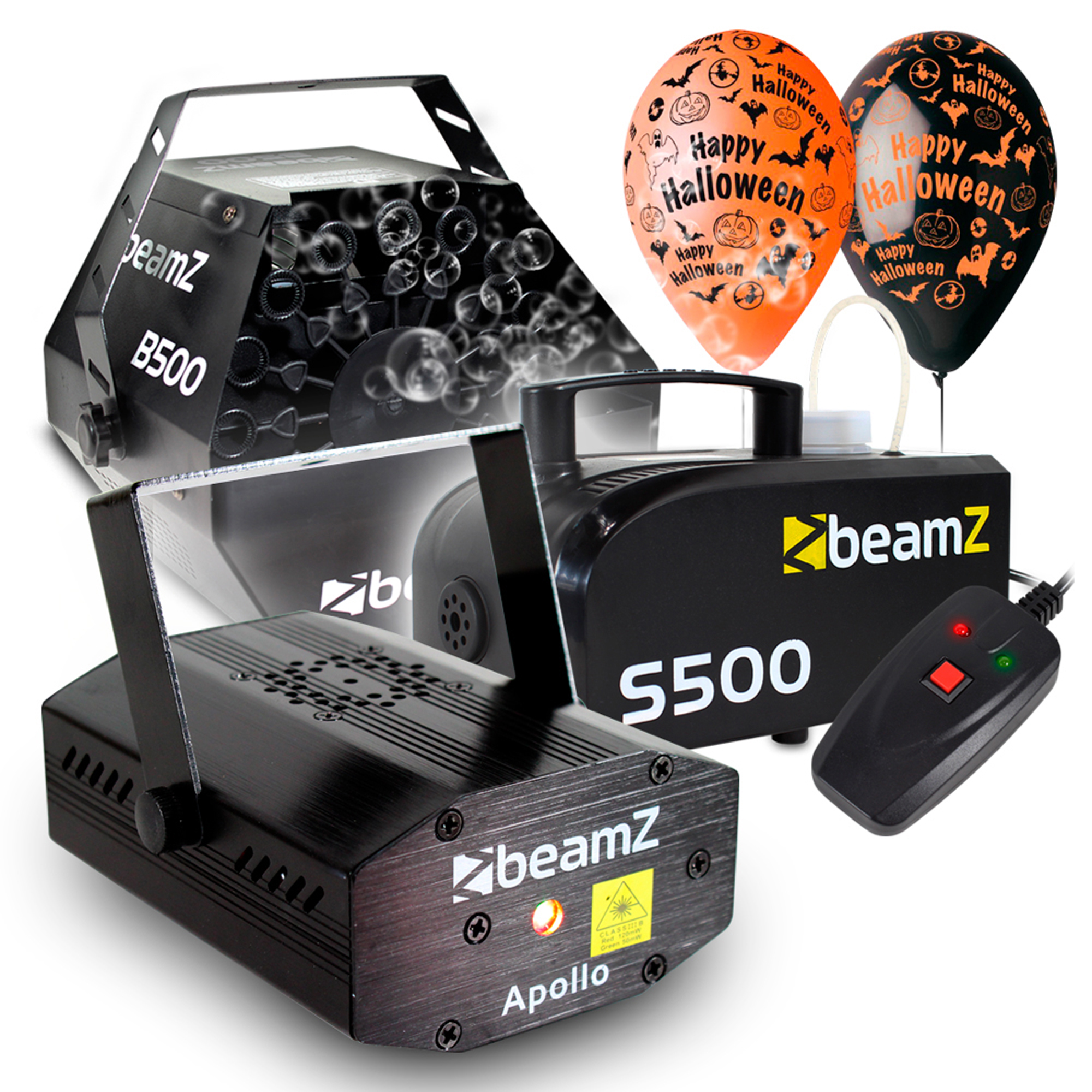 Halloween Party Package with S500 Smoke Machine, B500 Bubble Machine, Apollo Laser, Fluid & Balloon