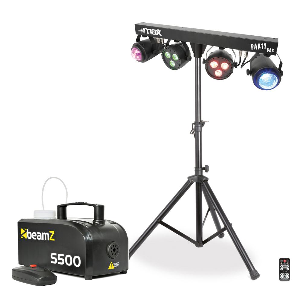 Max 2PAR Disco LED Partybar & S500 Smoke Machine