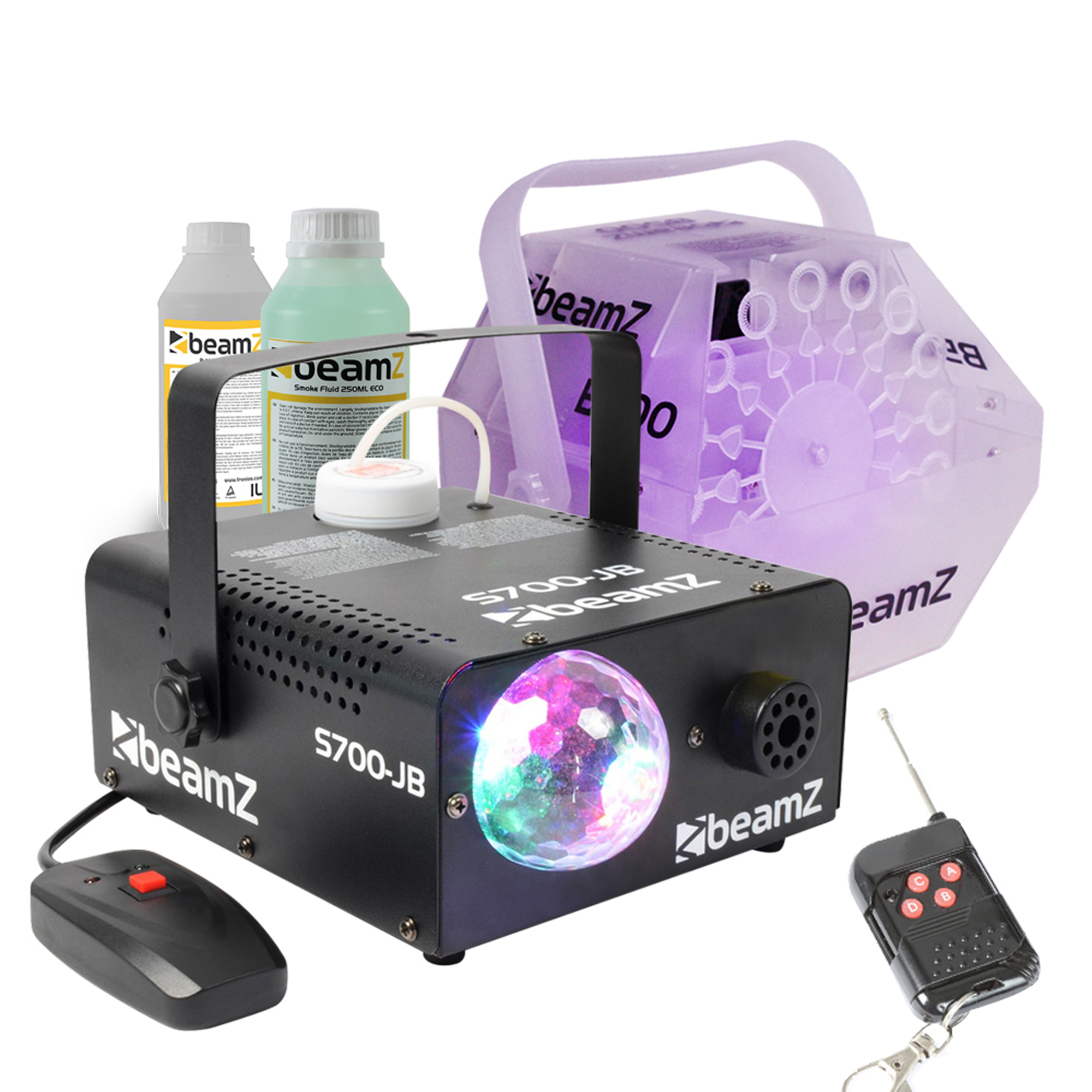 Halloween Party Package with BeamZ B500LED Bubble Machine, S700 Smoke Machine, Fluids & Balloon