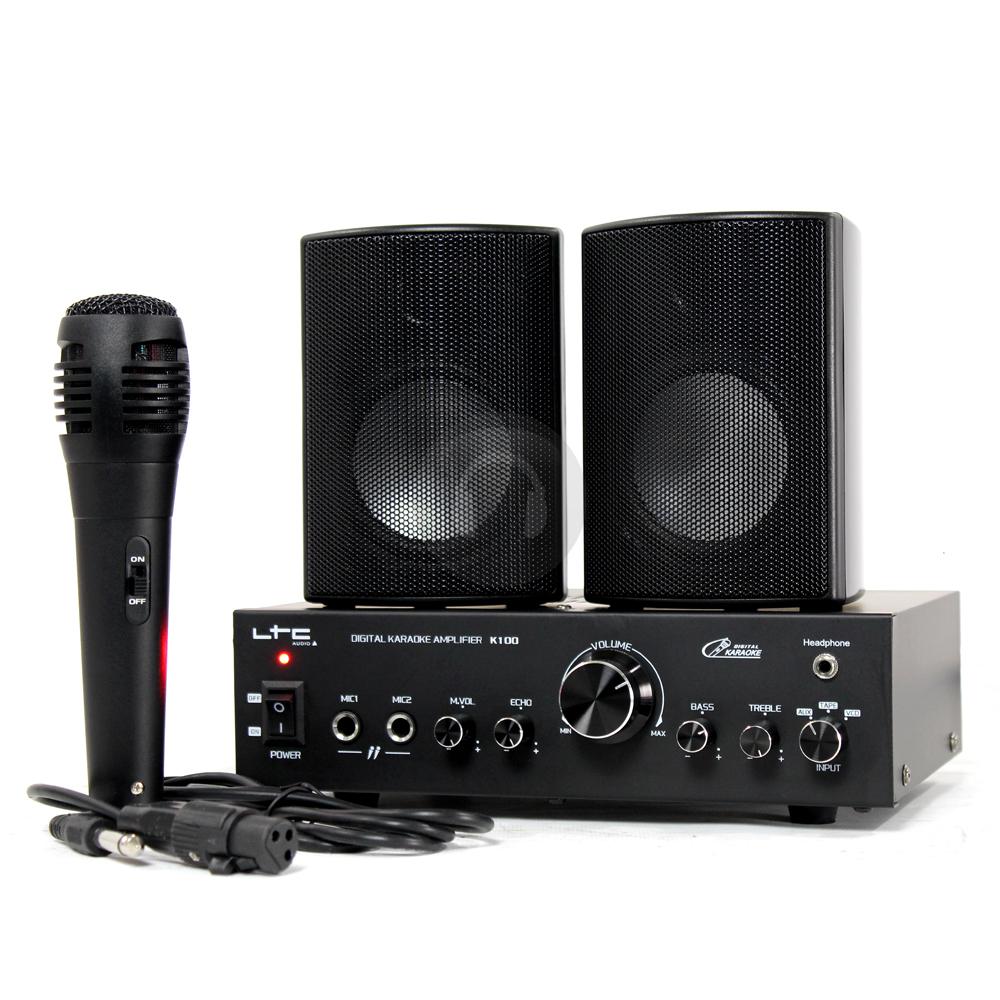 karaoke amplifier speaker system with microphone set home pa dj disco mp3 cd ebay. Black Bedroom Furniture Sets. Home Design Ideas