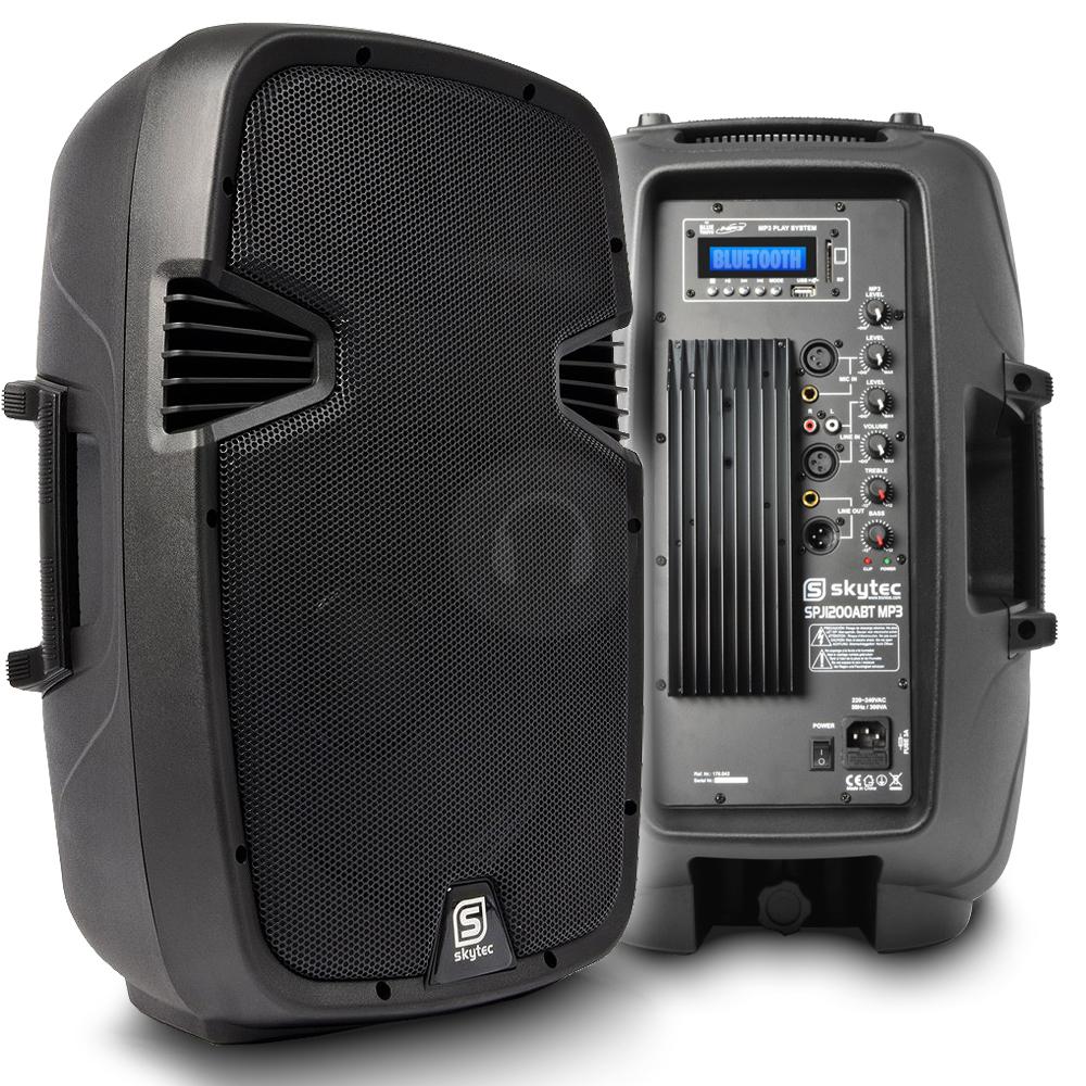 "Skytec 12"" Bluetooth Active Speaker MP3 USB SD DJ PA Disco Karaoke Party 600W"