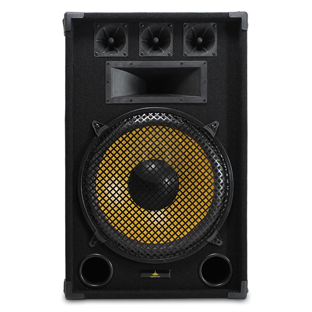 2x lemon audio 15 passive pa mobile dj 3 way speakers house party disco 1600w ebay. Black Bedroom Furniture Sets. Home Design Ideas