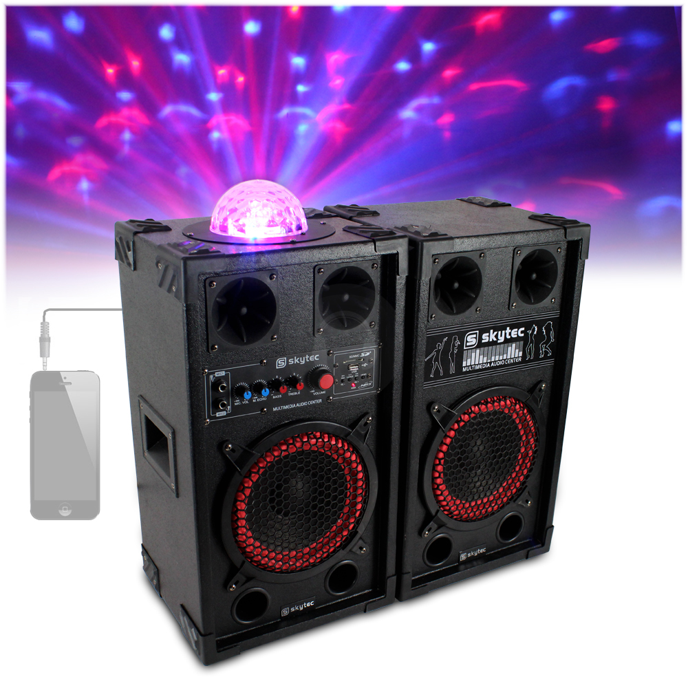 2x Skytec 10 Quot Active Party Speakers Colour Led Disco Light