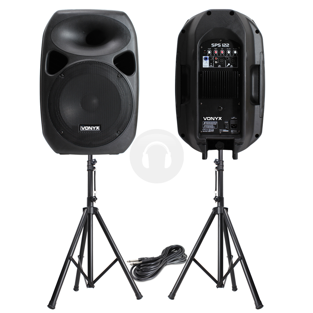 new quality pair 12 active pa dj disco sky speakers stand stage monitors 700w ebay. Black Bedroom Furniture Sets. Home Design Ideas