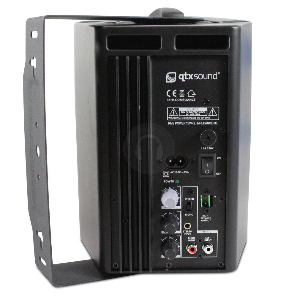 qtx sound black active passive speaker set office conference sound system 60w ebay. Black Bedroom Furniture Sets. Home Design Ideas