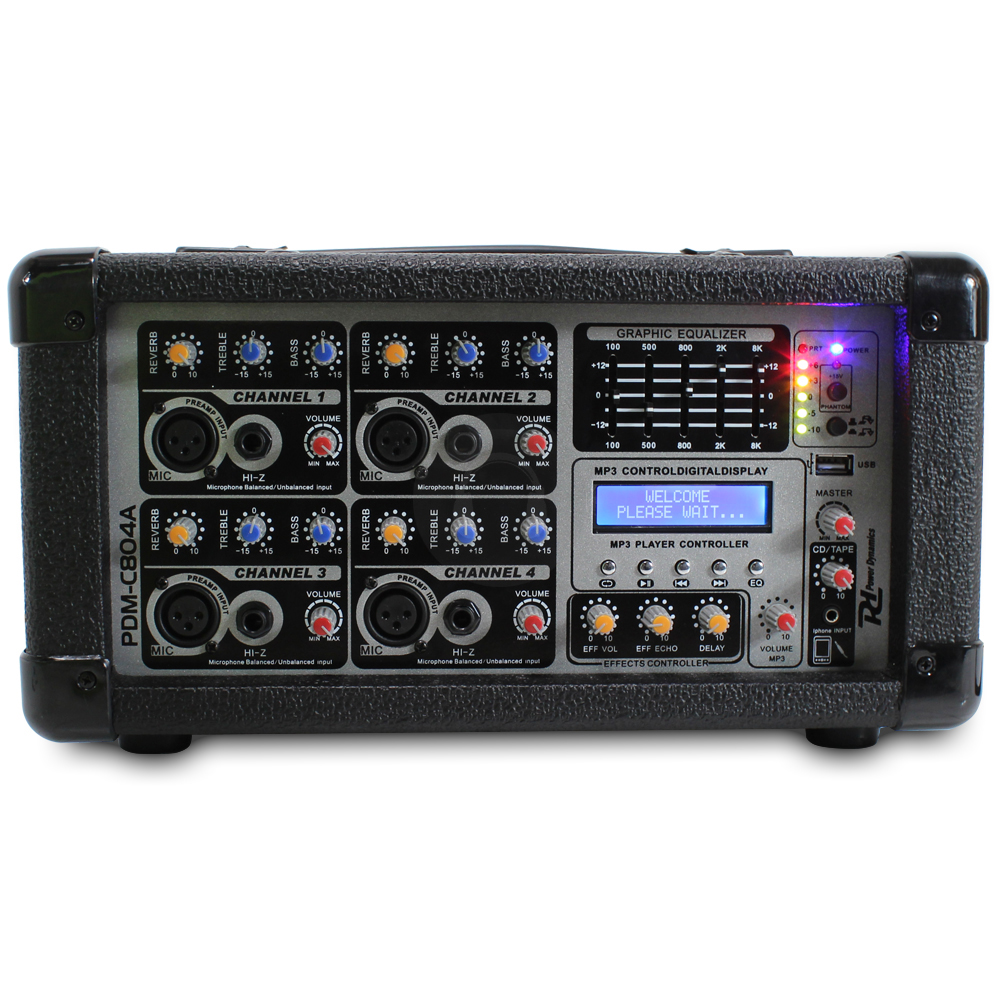 power dynamics pa amplifier 4 channel stereo mixer party dj band karaoke amp. Black Bedroom Furniture Sets. Home Design Ideas