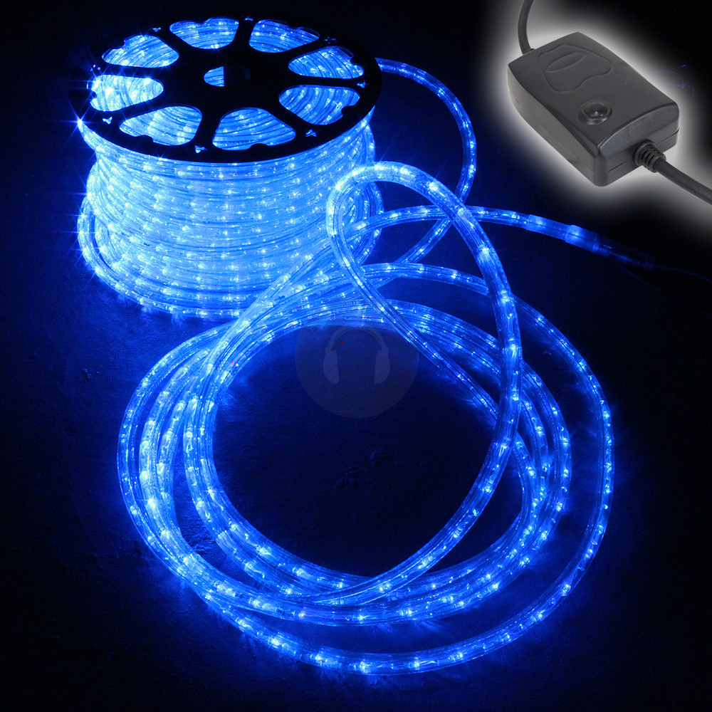 48m blue led rope light static chasing tube outdoor - Large bulb exterior christmas lights ...