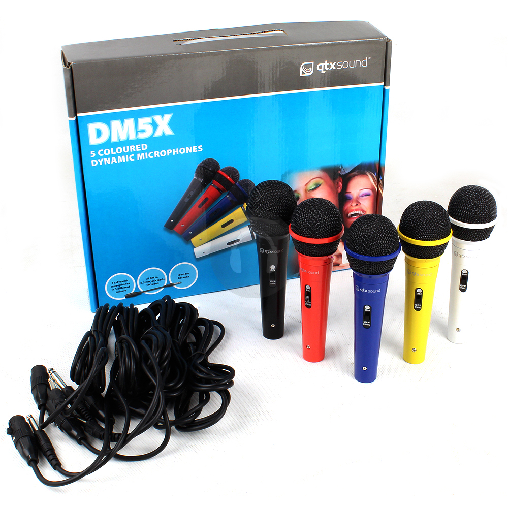 5x qtx sound karaoke pa recording dynamic coloured microphones kit set ebay. Black Bedroom Furniture Sets. Home Design Ideas