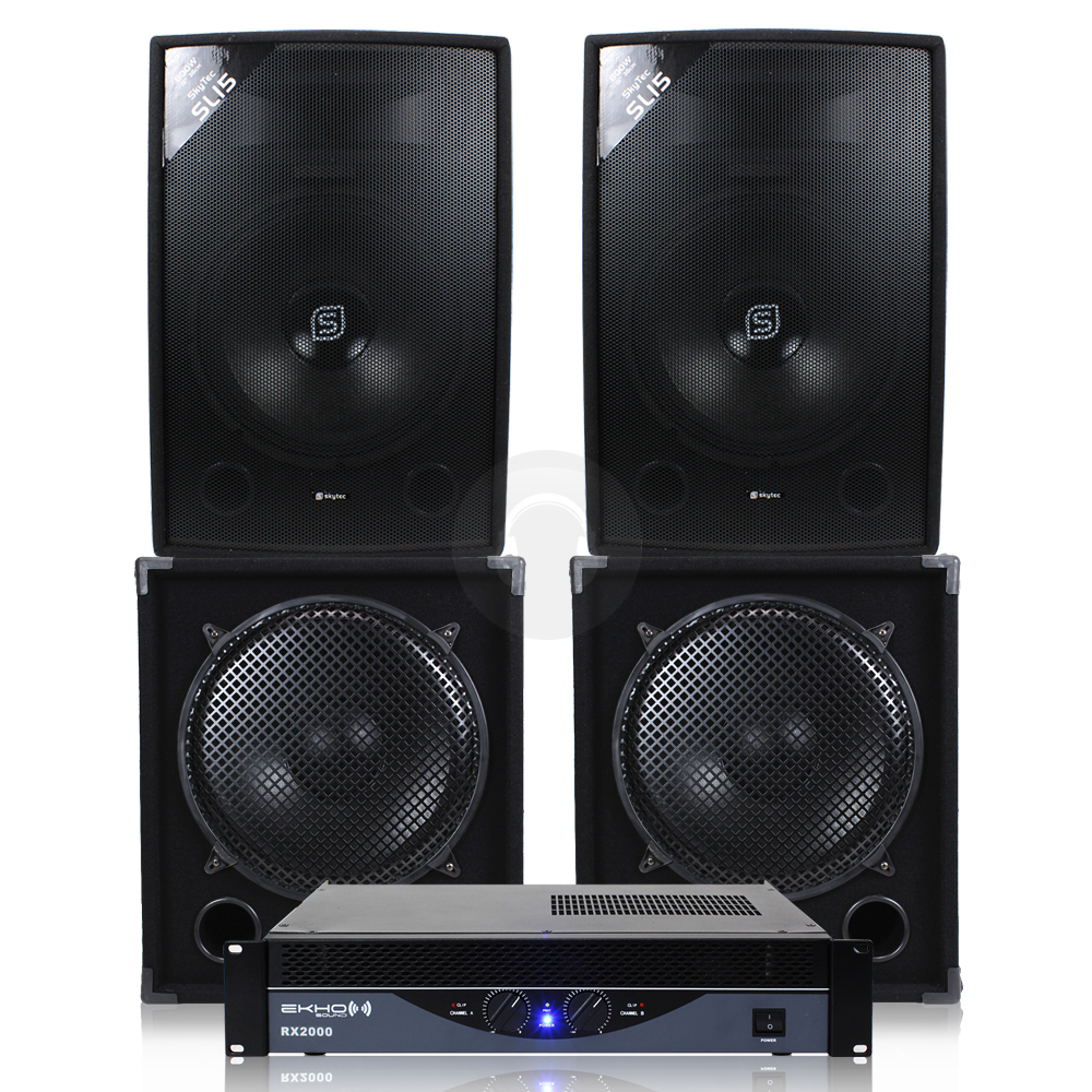 cheap 2x skytec 15 speakers 2x subwoofers power amplifier 3600w ebay. Black Bedroom Furniture Sets. Home Design Ideas