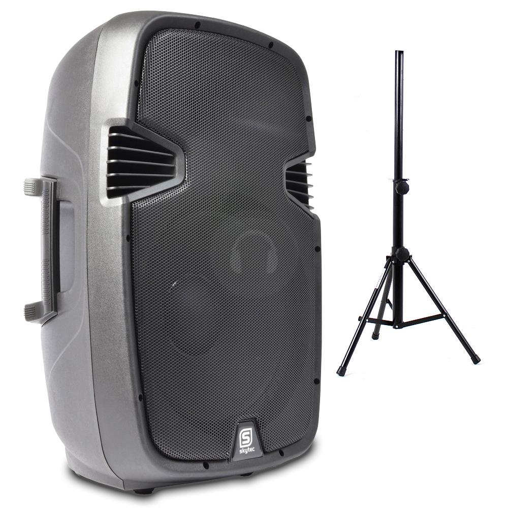 skytec 15 inch active bluetooth speaker ekho speaker stand 800w essex ebay. Black Bedroom Furniture Sets. Home Design Ideas