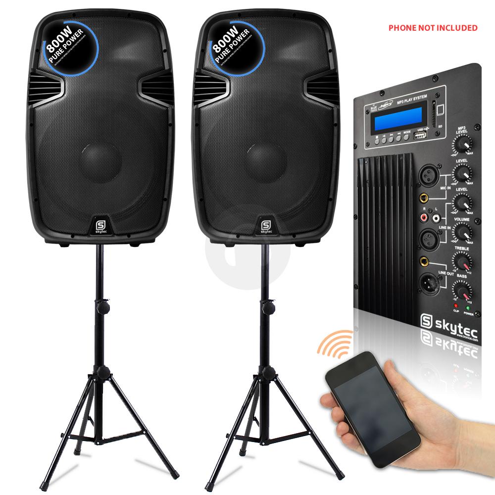 2x skytec 15 inch active bluetooth speakers 2x ekho speaker stands 1600w essex ebay. Black Bedroom Furniture Sets. Home Design Ideas