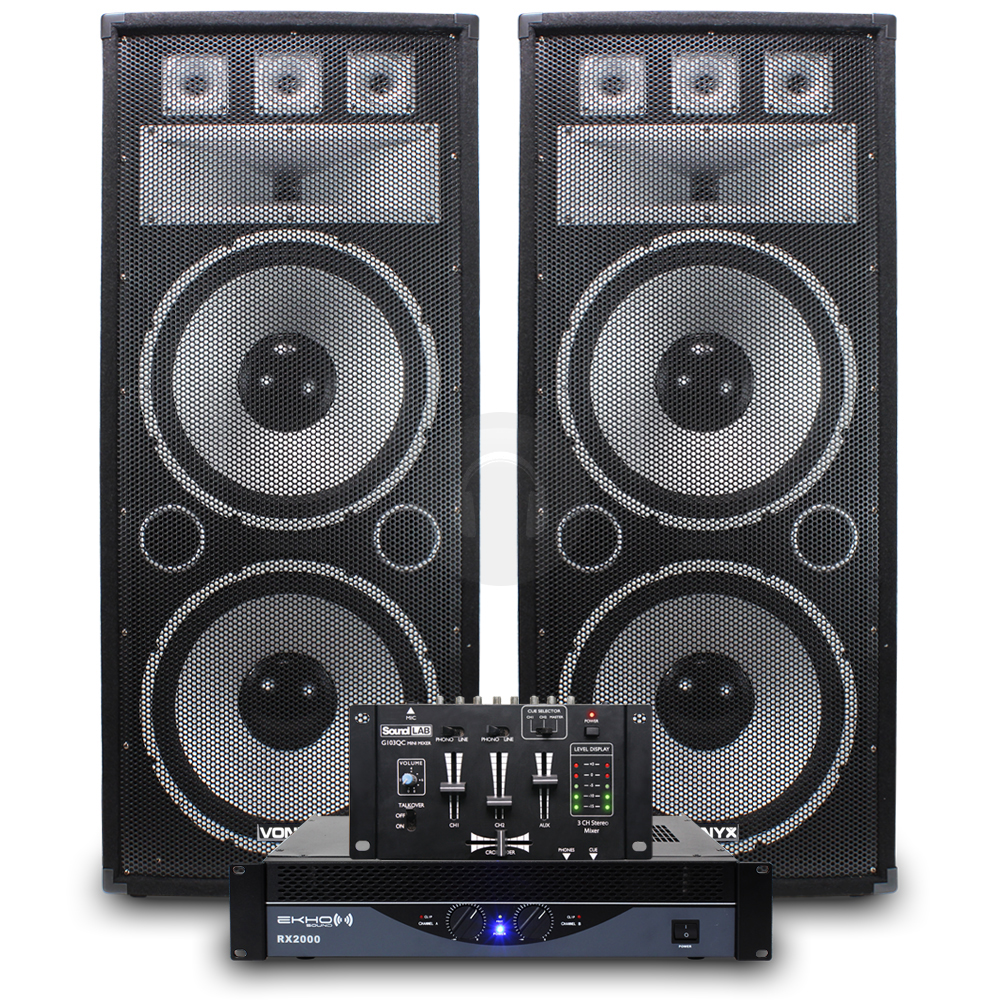 big party speakers pa amplifier professional dj mixer disco 1200w 3200w ebay. Black Bedroom Furniture Sets. Home Design Ideas