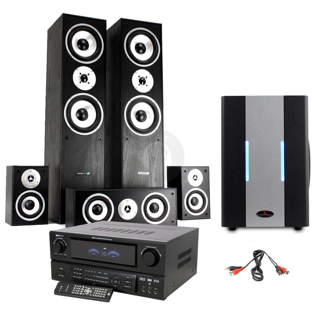5 1 hifi surround sound system tower speakers subwoofer. Black Bedroom Furniture Sets. Home Design Ideas