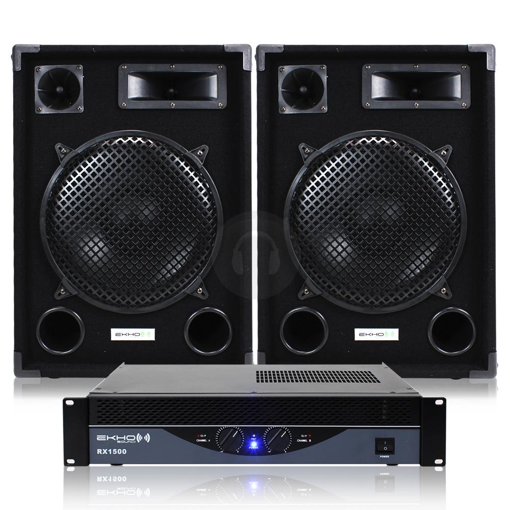 cheap 2x ekho 12 pa speakers rx1500 amplifier cables 1200w ebay. Black Bedroom Furniture Sets. Home Design Ideas