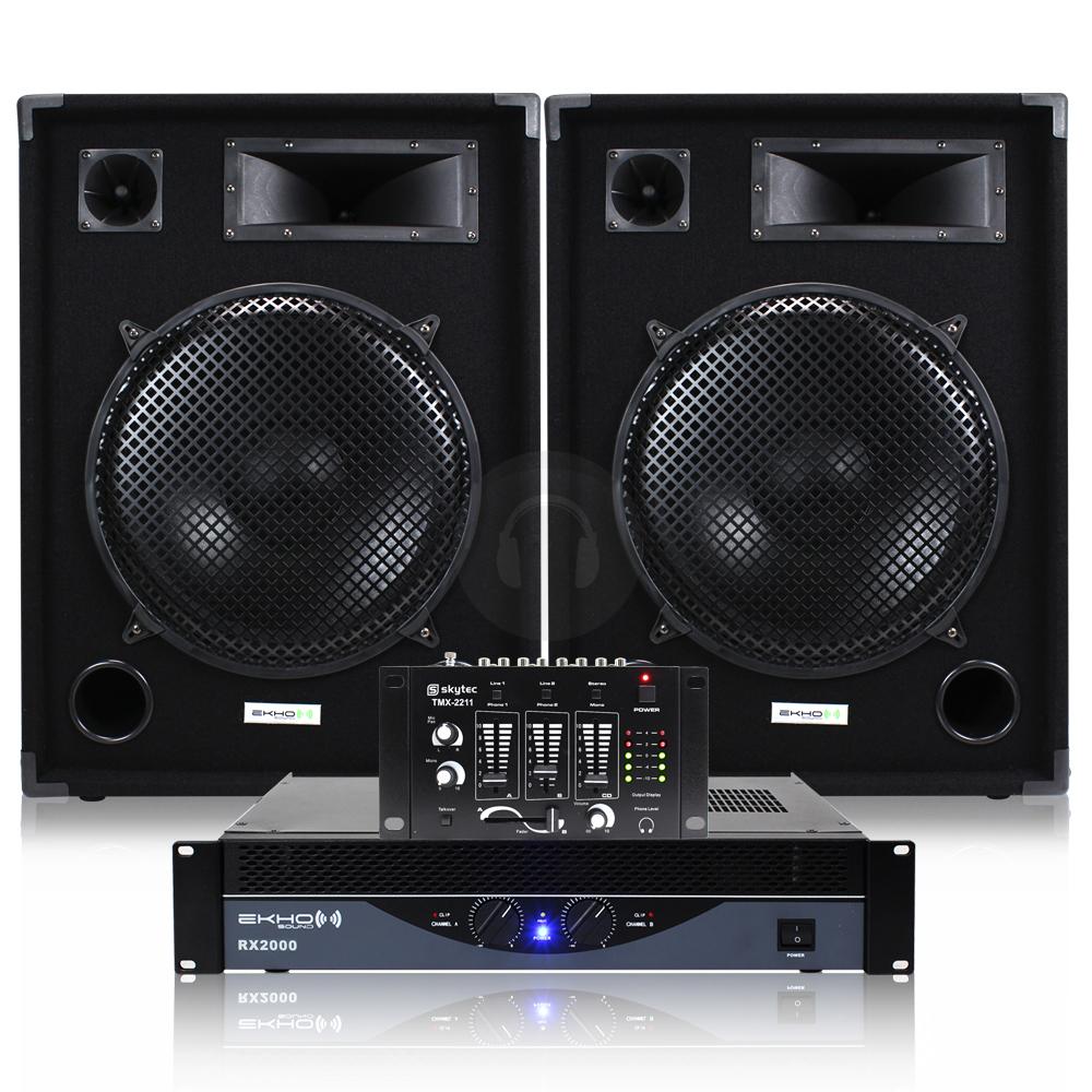 cheap 2x ekho max 15 speakers rx2000 amplifier dj mixer cables 1600w ebay. Black Bedroom Furniture Sets. Home Design Ideas