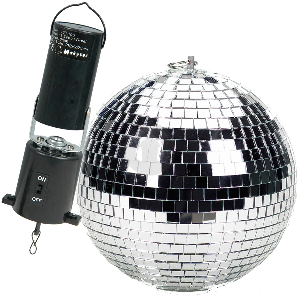 Soundlab 10 Inch Disco Silver Mirror Ball Rotation